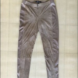 BCBG Tan Distressed Faux Leather Skinny Pants